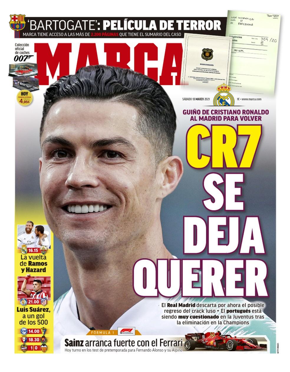 """Marca estampa Cristiano Ronaldo na capa: """"CR7 se deixa querer"""", sobre um possível retorno ao Real Madrid — Foto: Reprodução/Marca"""