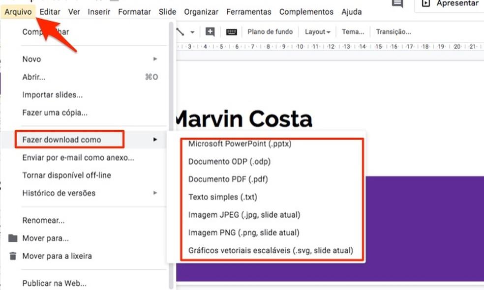 Ação para baixar uma apresentação profissional criada com o Google Forms — Foto: Reprodução/Marvin Costa