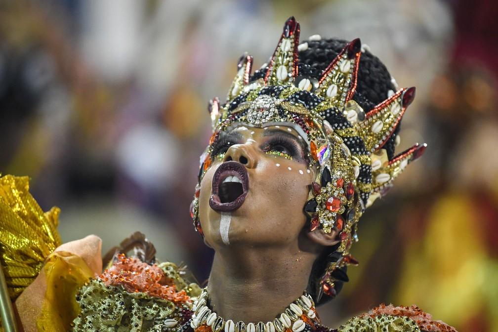Detalhe no desfile da Grande Rio — Foto: Alexandre Durão/G1