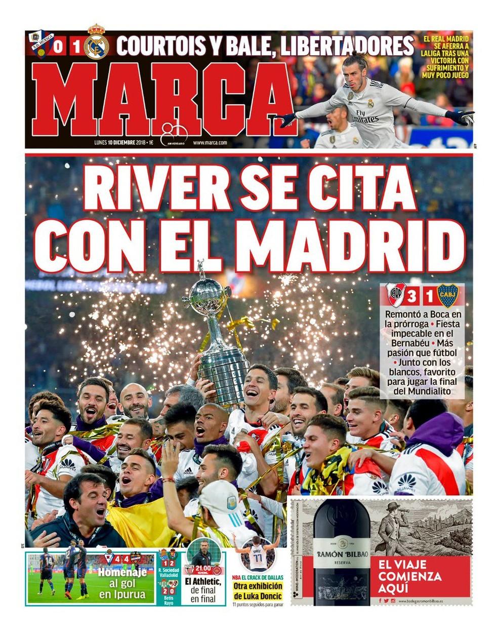 Manchete do Marca após final da Libertadores — Foto: Reprodução / Marca