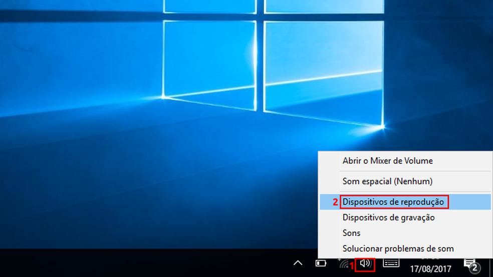 """Acessando a opção """"Dispositivos de reprodução"""" no Windows — Foto: Edivaldo Brito/TechTudo"""