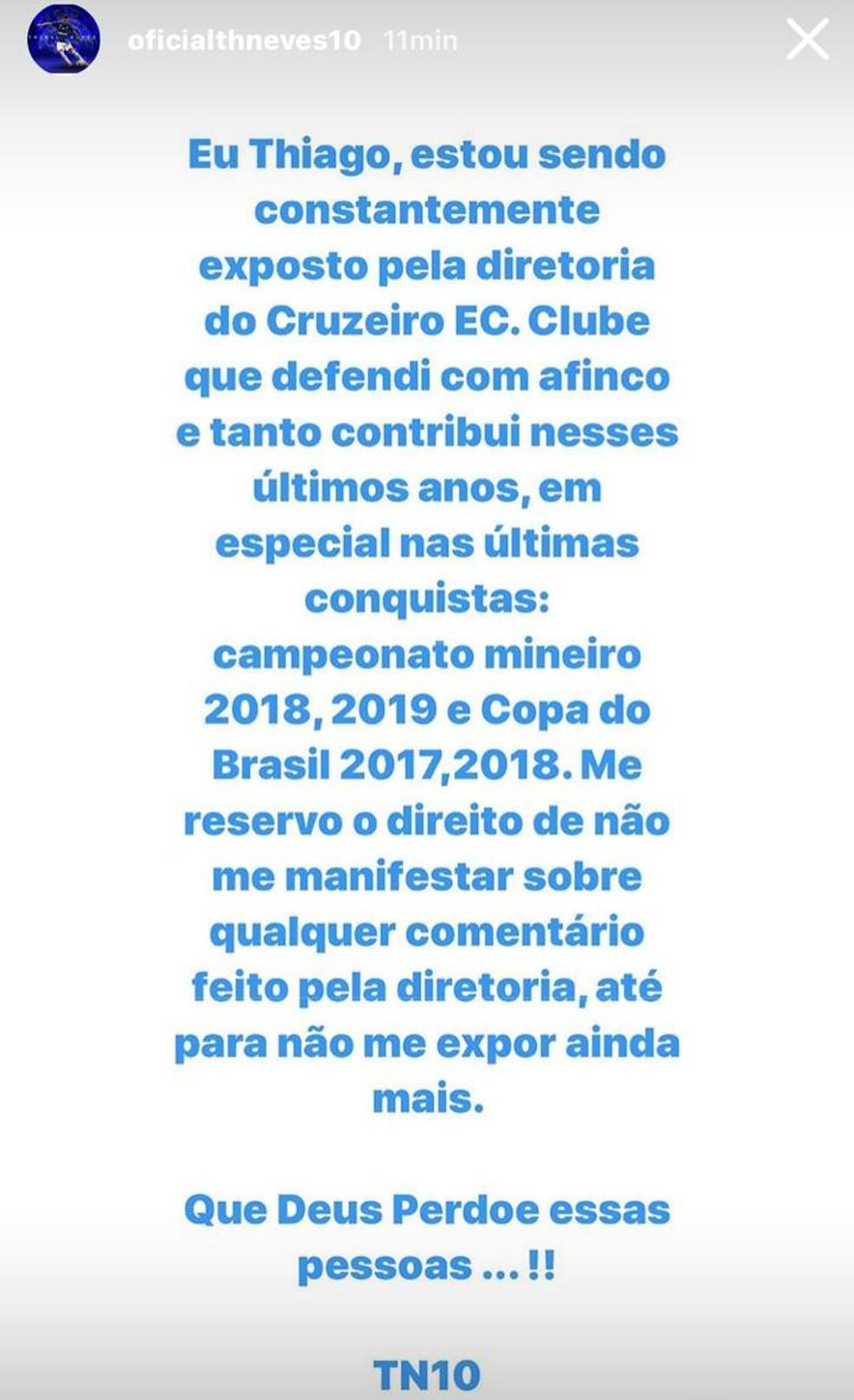 Thiago Neves, do Cruzeiro, se pronuncia sobre afastamento e críticas da diretoria — Foto: Reprodução / Instagram