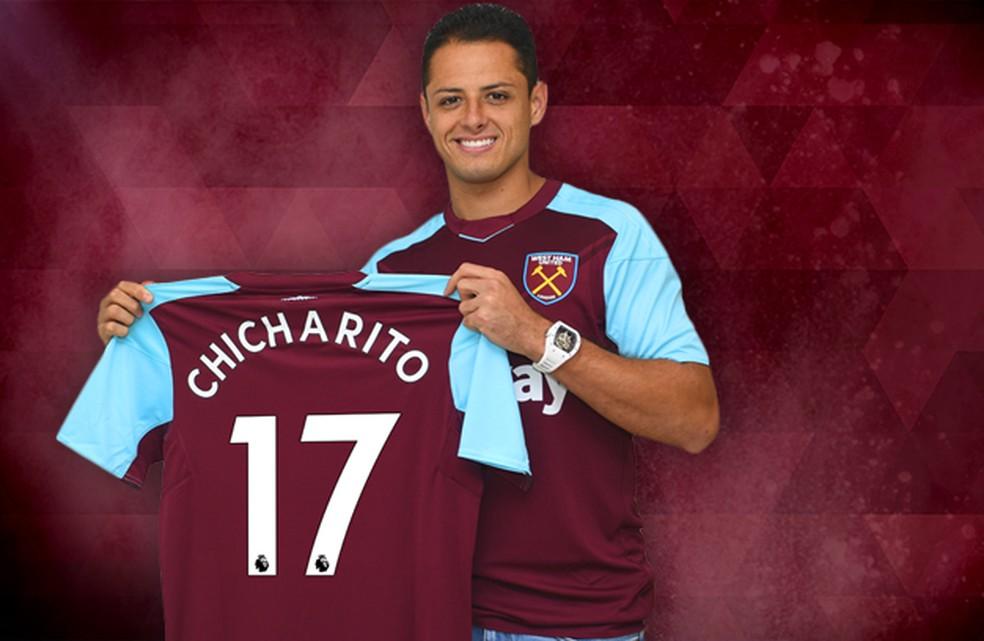 Chicharito Hernández foi apresentado em julho de 2017 pelo West Ham (Foto: whufc.com)