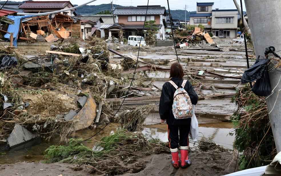 Região de casas destruídas em Nagano — Foto: Kazuhiro Nogi / AFP Photo