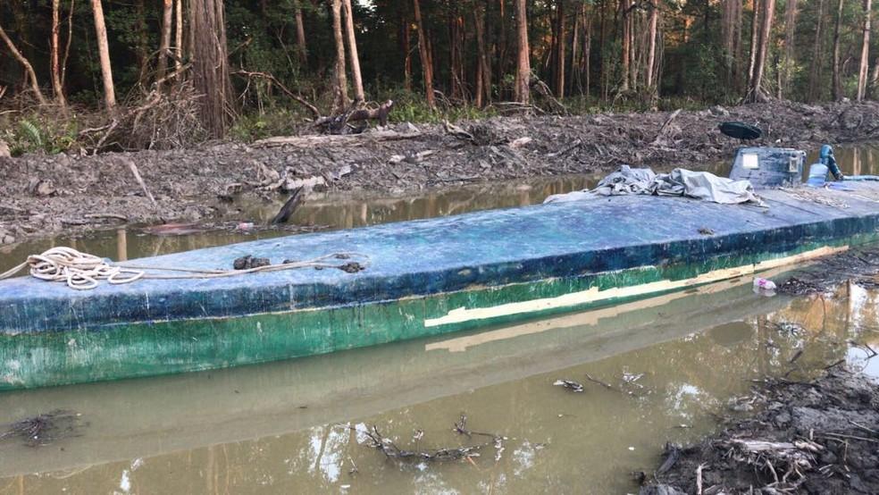 Submarino foi apreendido no Suriname — Foto: Divulgação/PF