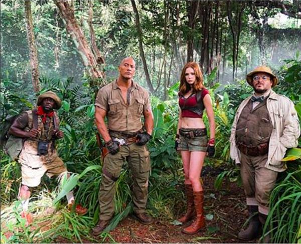 Kevin Hart, The Rock, Karen Gillan e Jack Black na primeira foto do novo 'Jumanji' (Foto: Instagram)