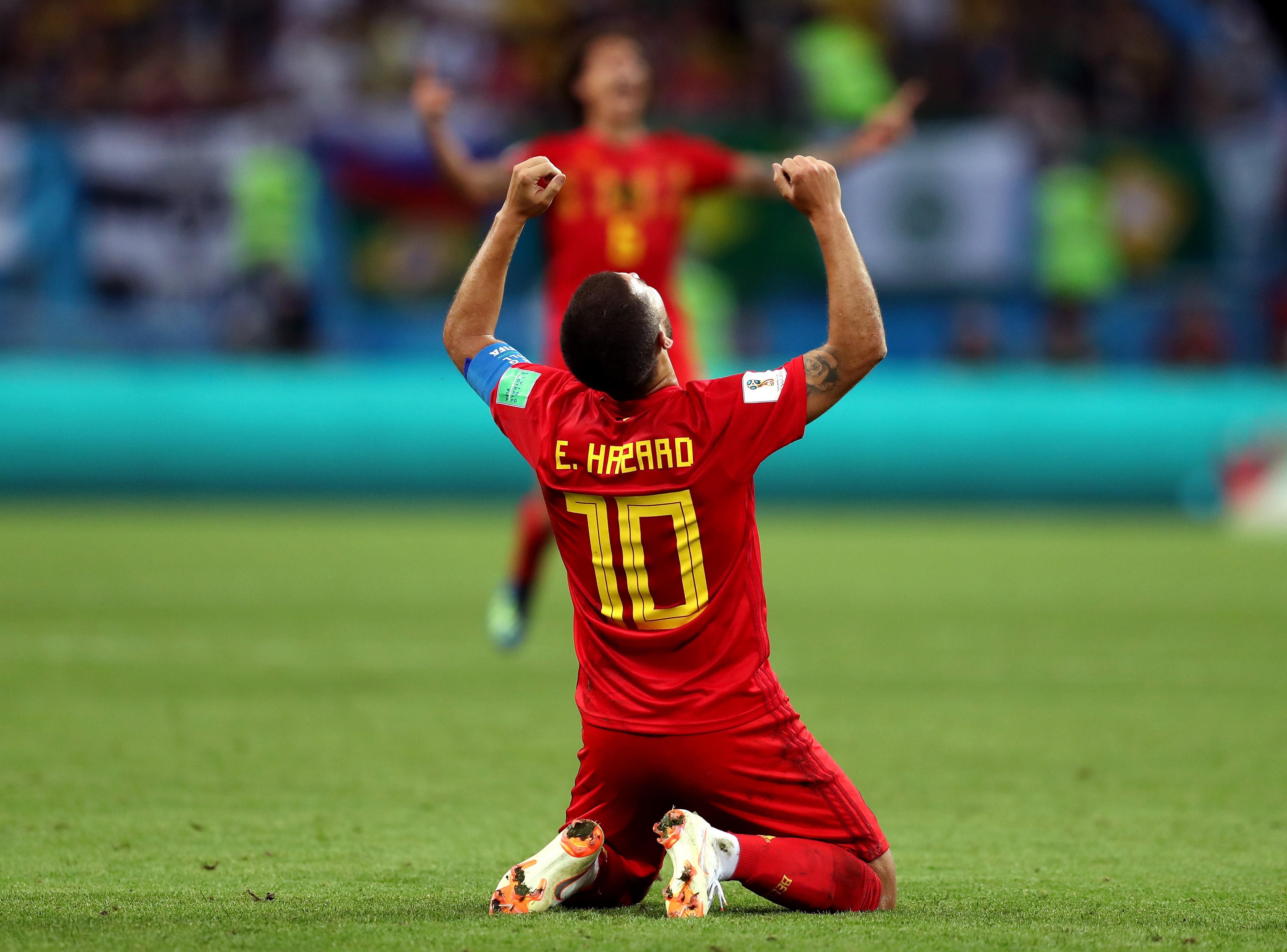 O craque e capitão belga Eden Hazard celebrando a vitória contra o Brasil na Copa do Mundo da Rússia (Foto: Getty Images)