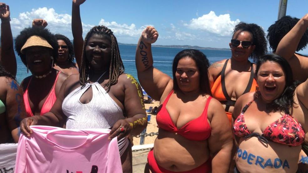 Ação também é para chamar atenção para o direito das mulheres gordas ocuparem espaços públicos — Foto: Paulo Arcanjo