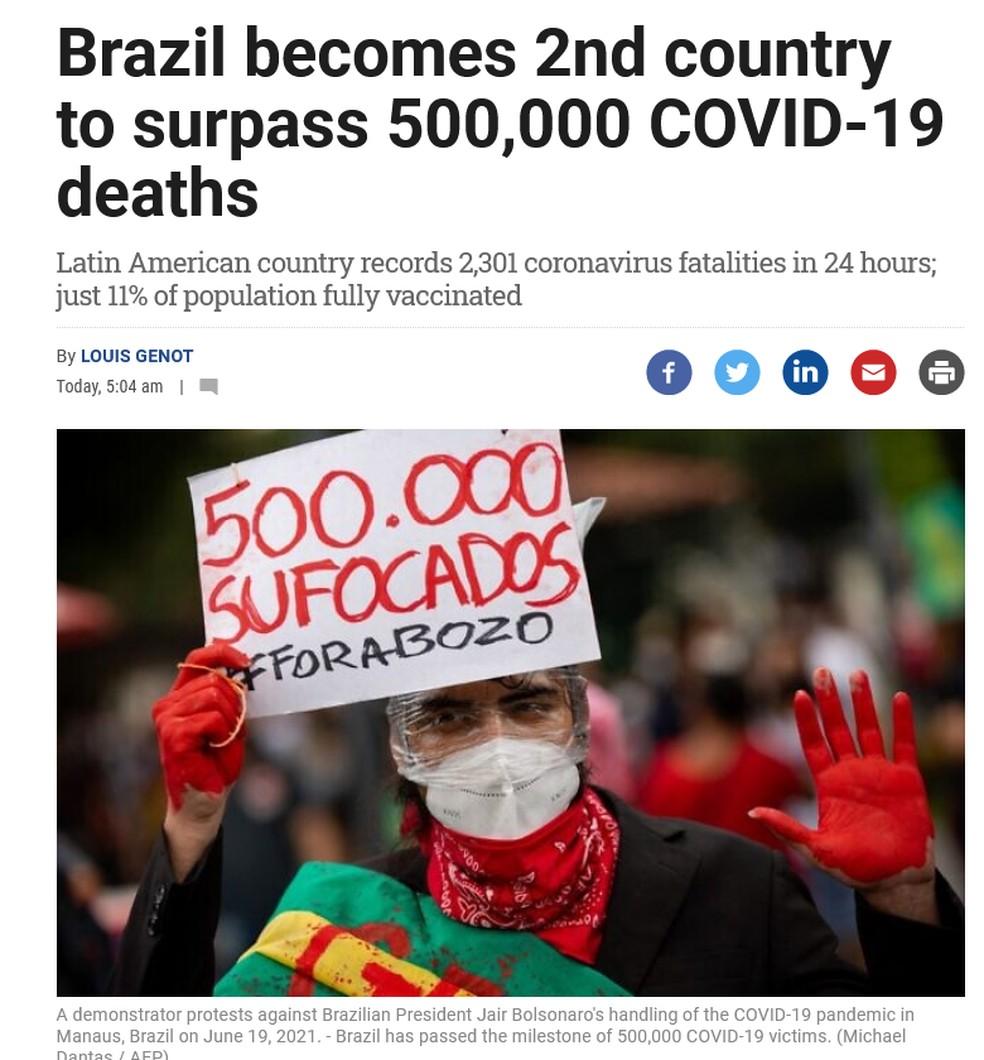 The Times of Israel também destacou que o Brasil é o segundo país a atingir a marca de 500 mil mortos. — Foto: Reprodução