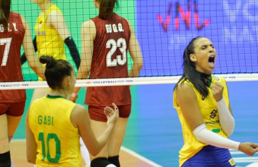 Gabi e Paula Borgo foram as principais pontuadoras do Brasil — Foto: Brito Júnior / Banco do Brasil