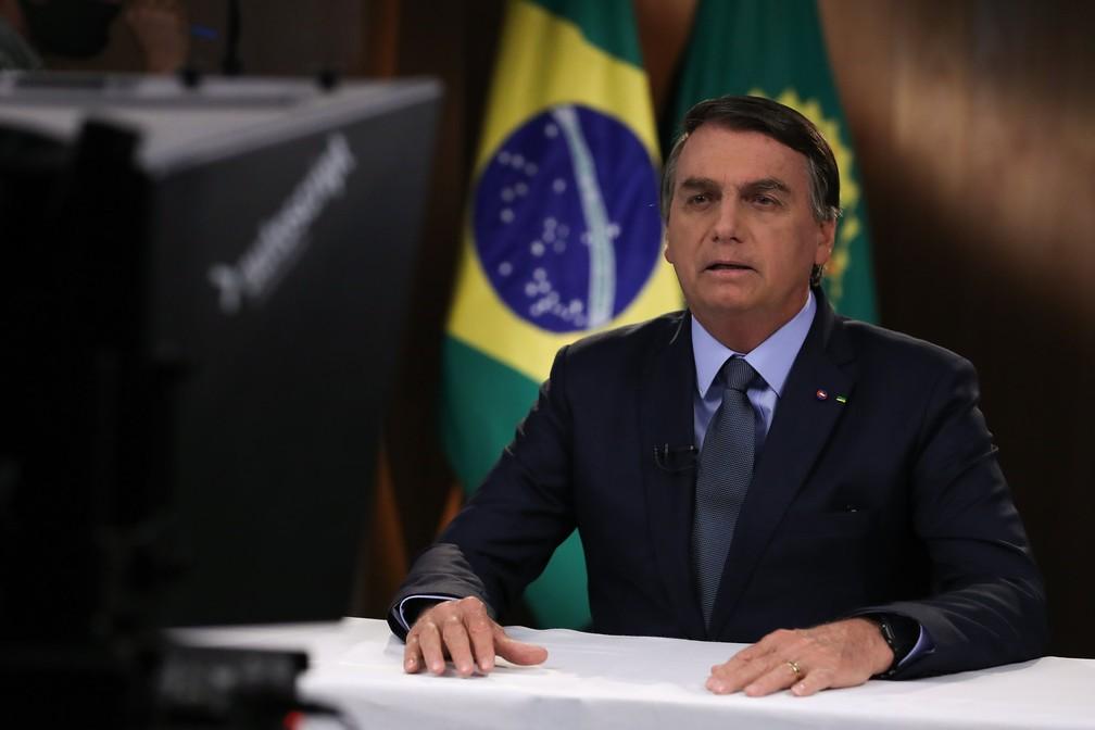 O presidente Jair Bolsonaro durante gravação de discurso para a 75ª Assembleia Geral da ONU   — Foto: Marcos Corrêa/PR