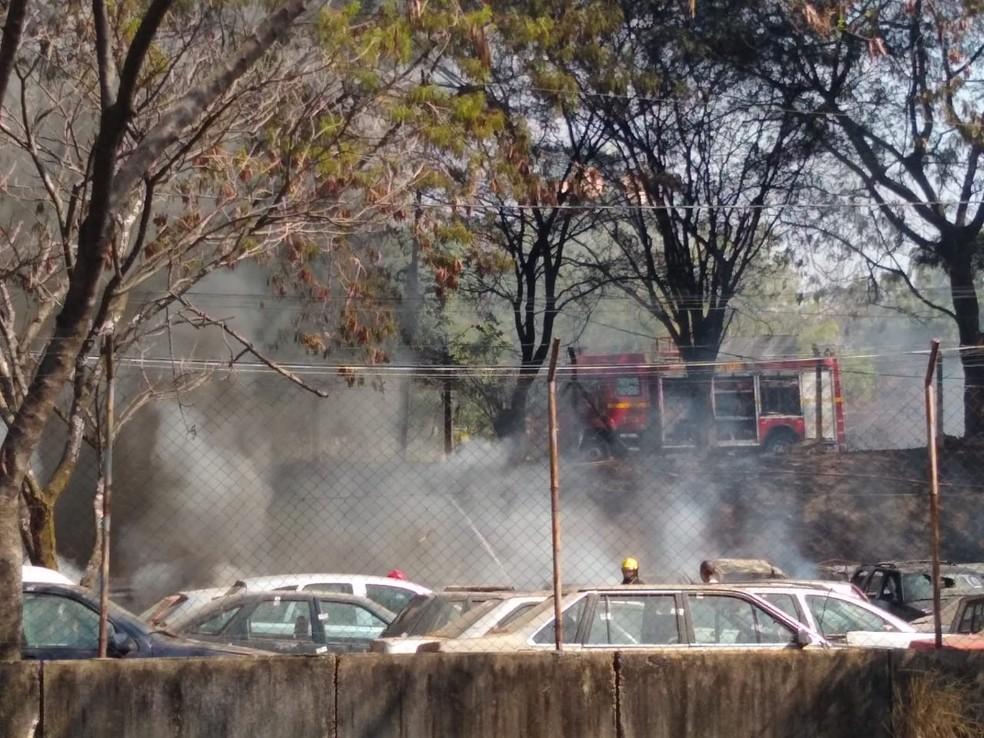 Incêndio atinge pátio de veículos em BH — Foto: Elton Lopes/TV Globo