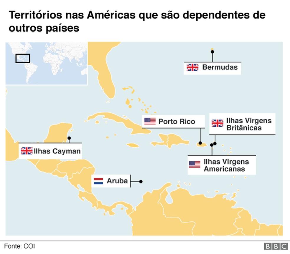 Territórios dependentes nas Américas — Foto: BBC