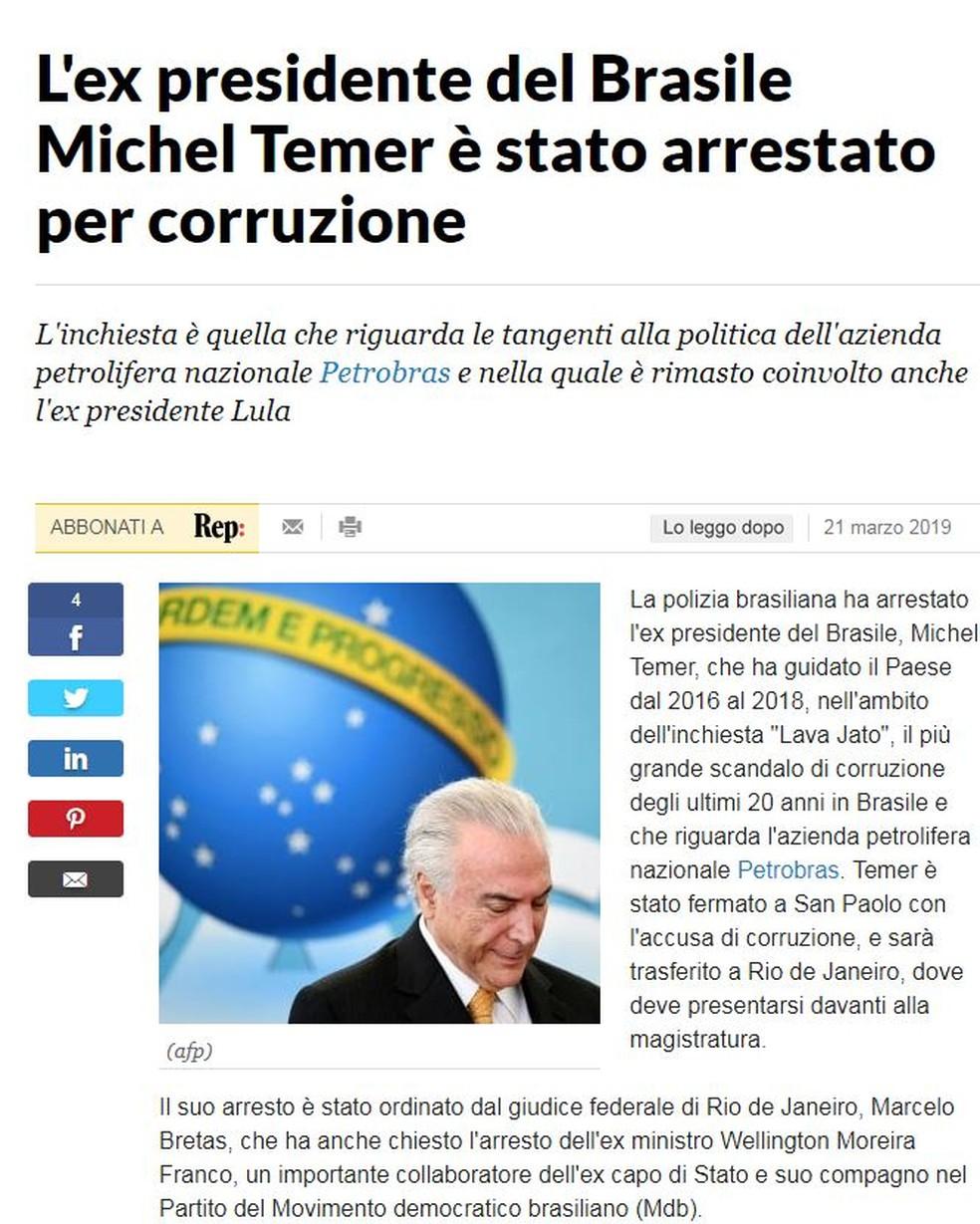 Jornal italiano La Repubblica — Foto: Reprodução