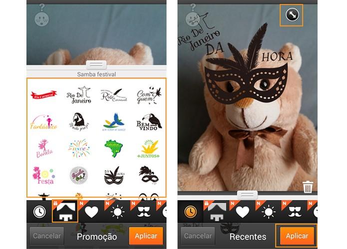 Adicione seus adesivos de carnaval na imagem e confirme em Aplicar (Foto: Reprodução/Barbara Mannara)