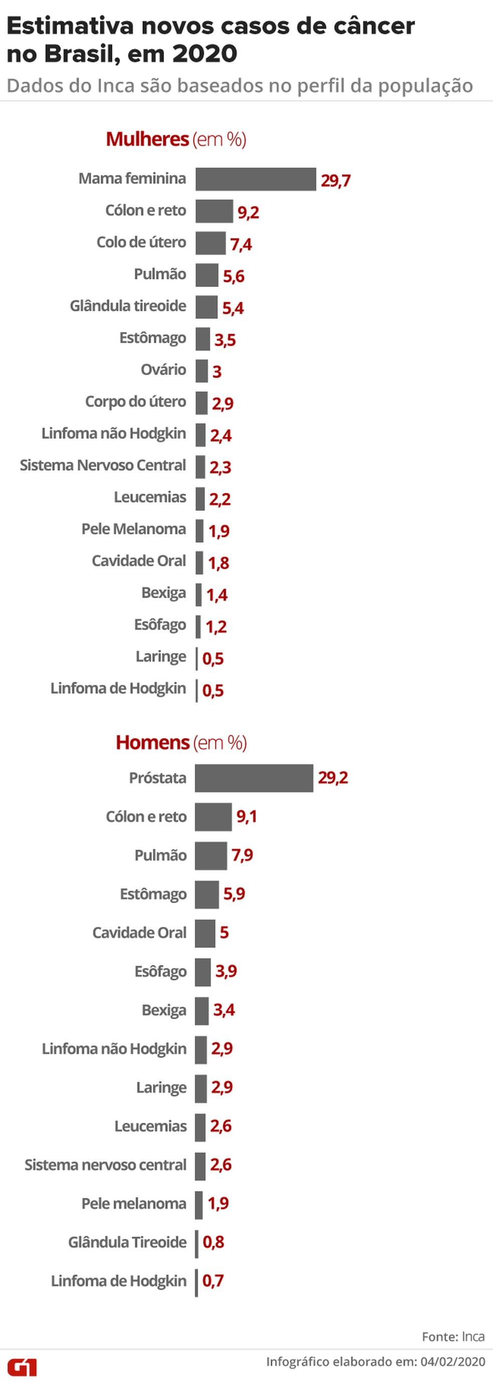 Câncer no Brasil: estimativa do Inca aponta incidência de novos casos em 2020 — Foto: Infografia/G1