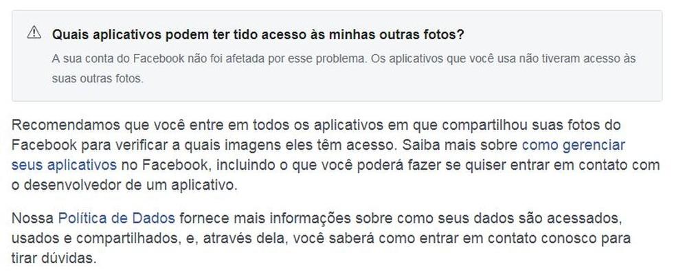 Página do Facebook avisa se bug afetou usuário — Foto: Reprodução/TechTudo