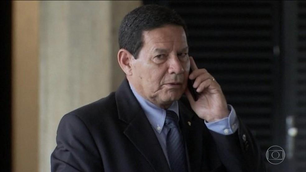 Hamilton Mourão, presidente da República em exercício — Foto: Reprodução/JN