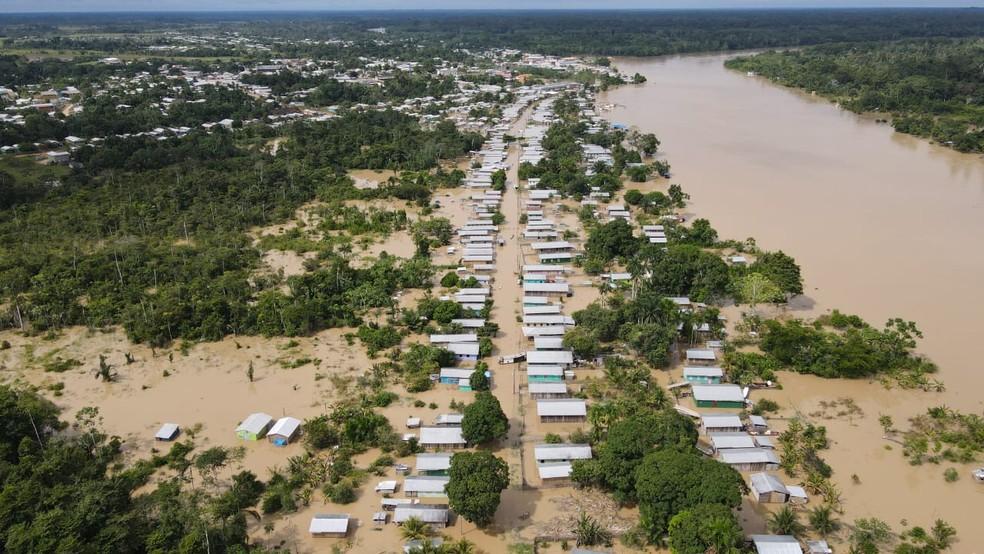 Cheia em Envira em 2021 — Foto: Defesa Civil do Amazonas