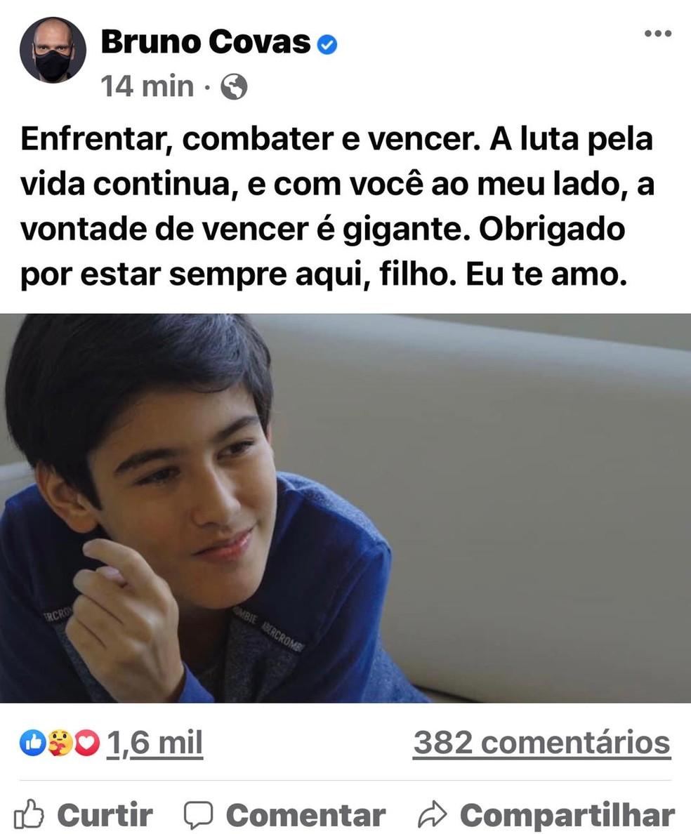 Postagem do prefeito de SP, Bruno Covas, nesta segunda-feira (26).  — Foto: Reprodução/Redes Sociais