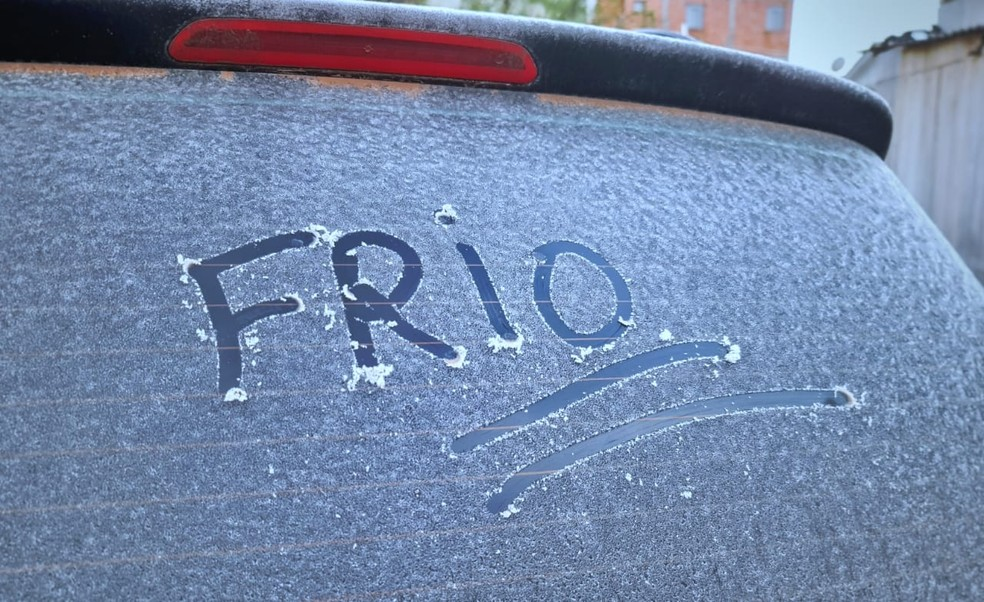 Veículos amanheceram com fina camada de gelo em São Joaquim, na Serra catarinense, nesta sexta-feira (14) — Foto: Mycchel Legnaghi/São Joaquim Online