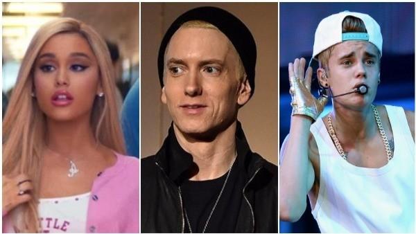 Ariana Grande, Eminem, Justin Bieber (Foto: Getty Images / Divulgação)