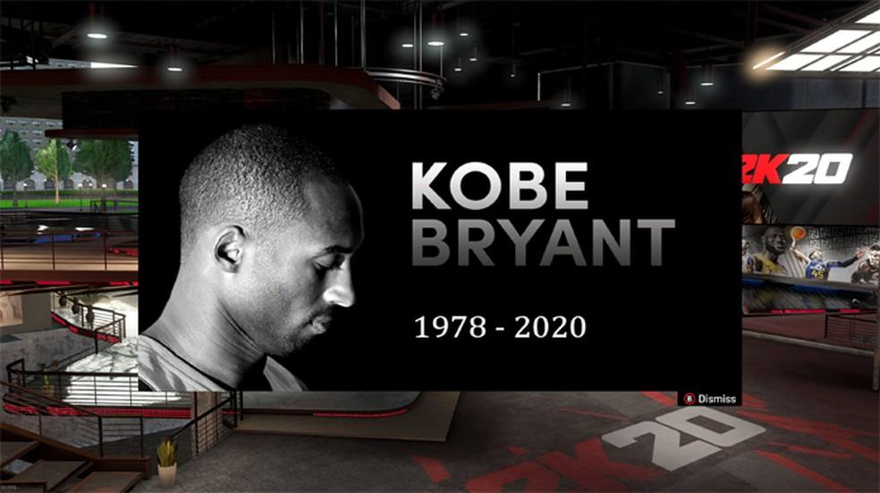 NBA 2K20 adiciona homenagem ao jogador Kobe Bryant que faleceu recentemente e chegou a ser capa de NBA 2K10 — Foto: Reprodução/Twitter