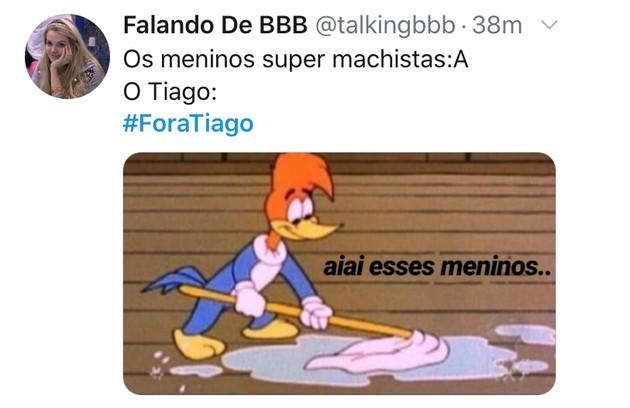 Meme com os pedidos da saída do apresentador Tiago Leifert do 'Big Brother' (Foto: TV Globo)