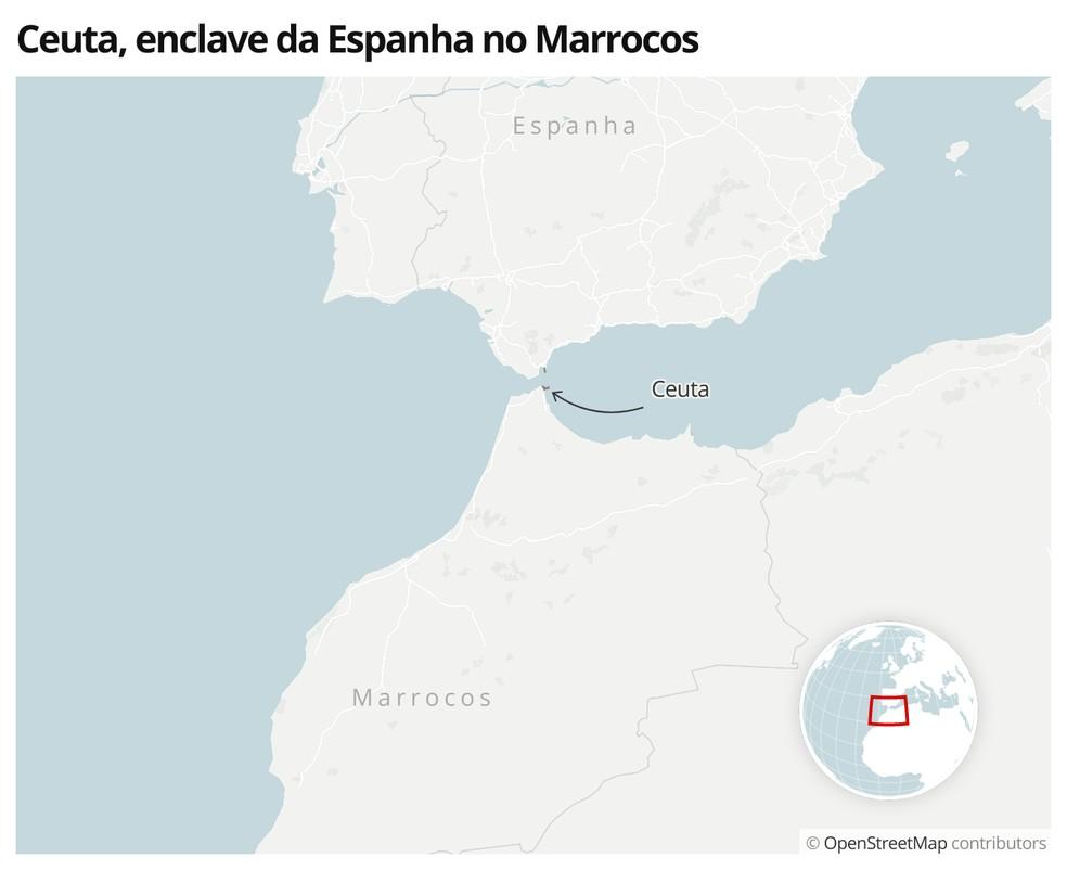 Mapa mostra a localização de Ceuta, um território da Espanha dentro do Marrocos — Foto:  G1
