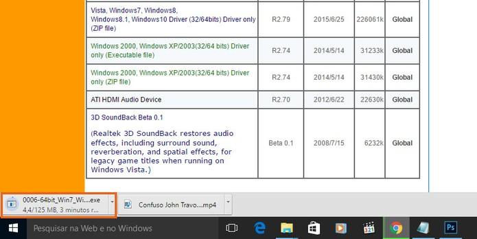 O download do driver Realtek para Windows 7 será inicializado automaticamente (Foto: Reprodução/Barbara Mannara)