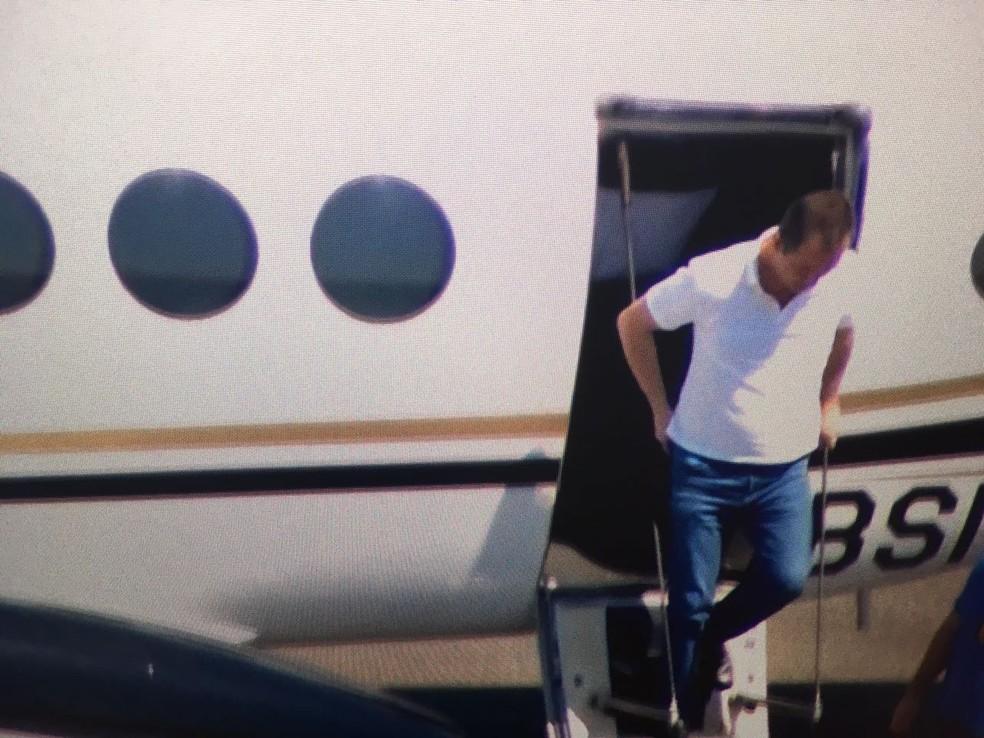 Joesley chega a SP para audiência de custódia  (Foto: Reprodução/TV Globo )