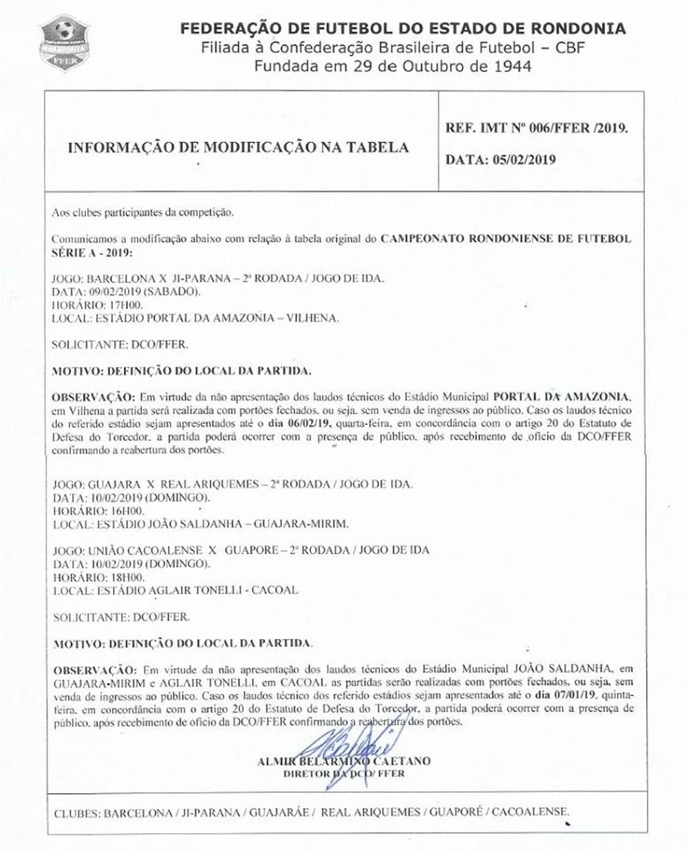 Federação de Futebol do Estado de Rondônia determina portões fechados em 3 jogos da 2ª rodada (Foto:  FFER/ Reprodução)