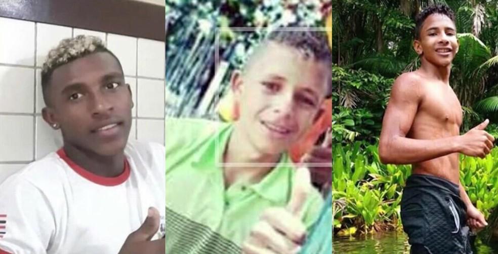 Joanderson da Silva Diniz, 17 anos; Gustavo Feitosa Monroe, 18 e Gildean Castro Silva, 14 anos, foram encontrados mortos na zona rural de São Luís — Foto: Montagem/G1 MA