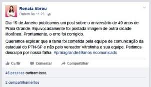Correção do equivoco foi feita na página da deputada (Foto: Reprodução / Facebook)