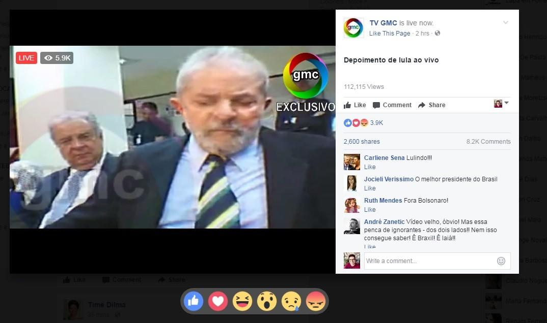 Vídeo compartilhado com depoimento de Lula