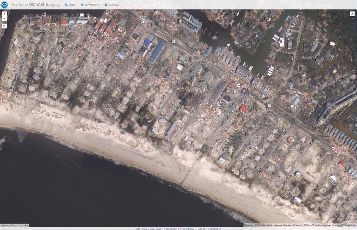 Mexico Beach após o furacão Michael (Foto: Reprodução/NOAA)