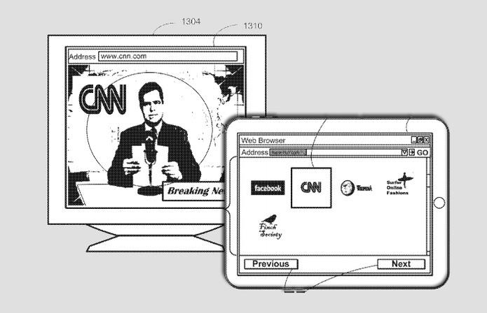 Será possível colocar conteúdo da Internet na TV também, pelo iPad, como indica a patente  (Foto: Arte / TechTudo / USPTO)