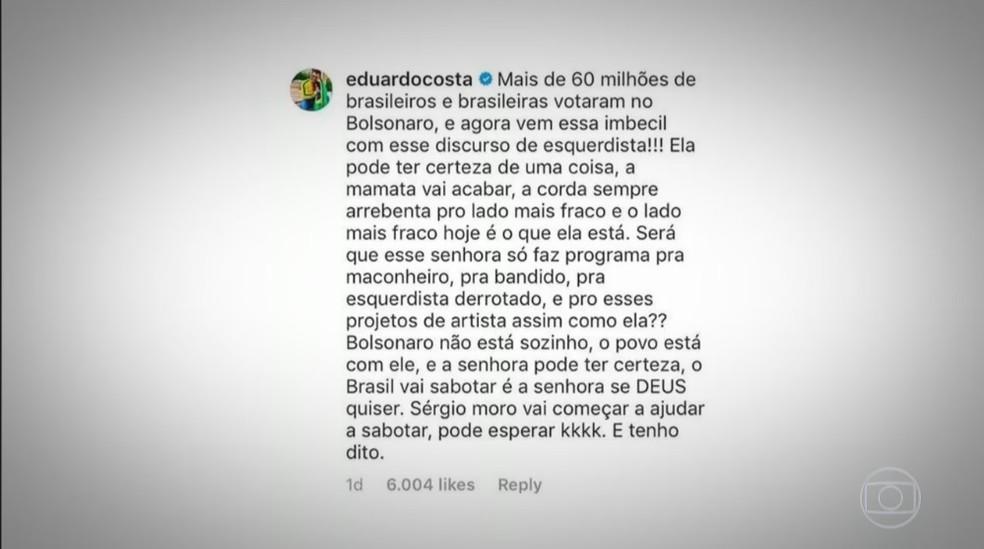 Eduardo Costa ofende Fernanda Lima em rede social  — Foto: Reprodução