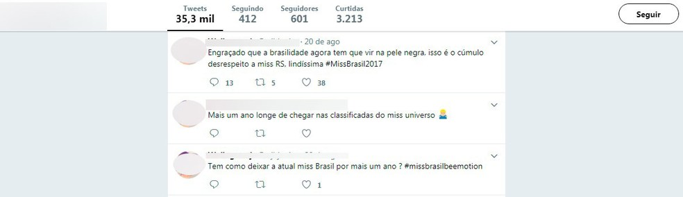 Comentários preconceituosas contra Miss Brasil (Foto: Reprodução/Twiterr)