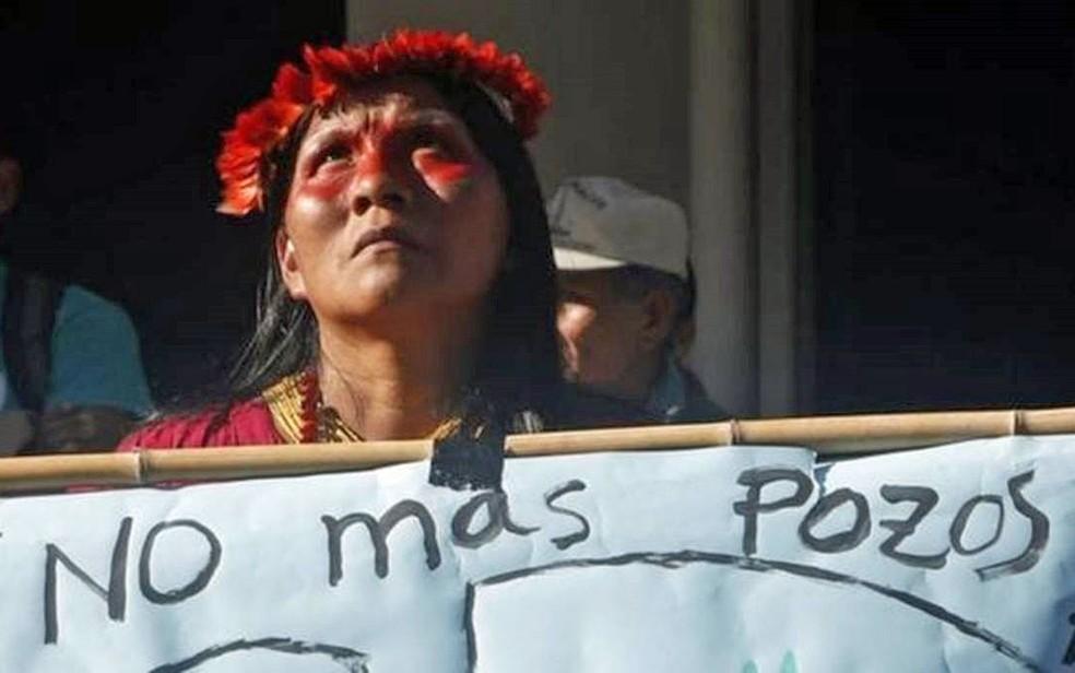 Extração de petróleo na Amazônia equatoriana foi alvo de protestos de povos indígenas — Foto: AFP Photo