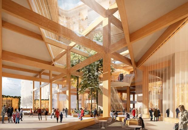 Os espaços público e privado se confundem no projeto do Sidewalk Labs para Waterfront, um loteamento de Toronto, no Canadá (Foto: Picture Plane for Heatherwick Studio/Reprodução/Sidewalk Labs)