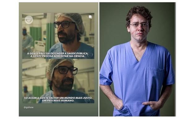 Pablo Sanábio compartilhou frases da série em que o médico Evandro (Julio Andrade) defende a saúde pública (Foto: Reprodução/Instagram)