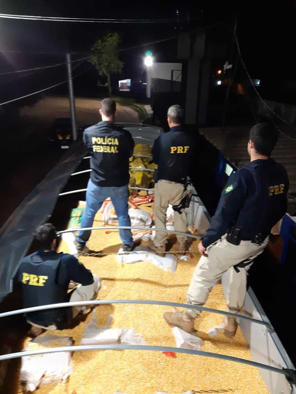 Carregamento de 28 toneladas de maconha estava escondido em meio a carga de milho em grão  Foto: PRF/Divulgação