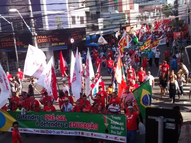 protesto no centro (Foto: Elias Bruno/G1)