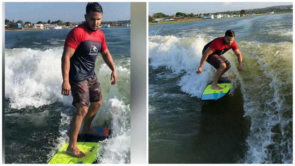 Piloto pratica esportes como surf — Foto: Arquivo pessoal