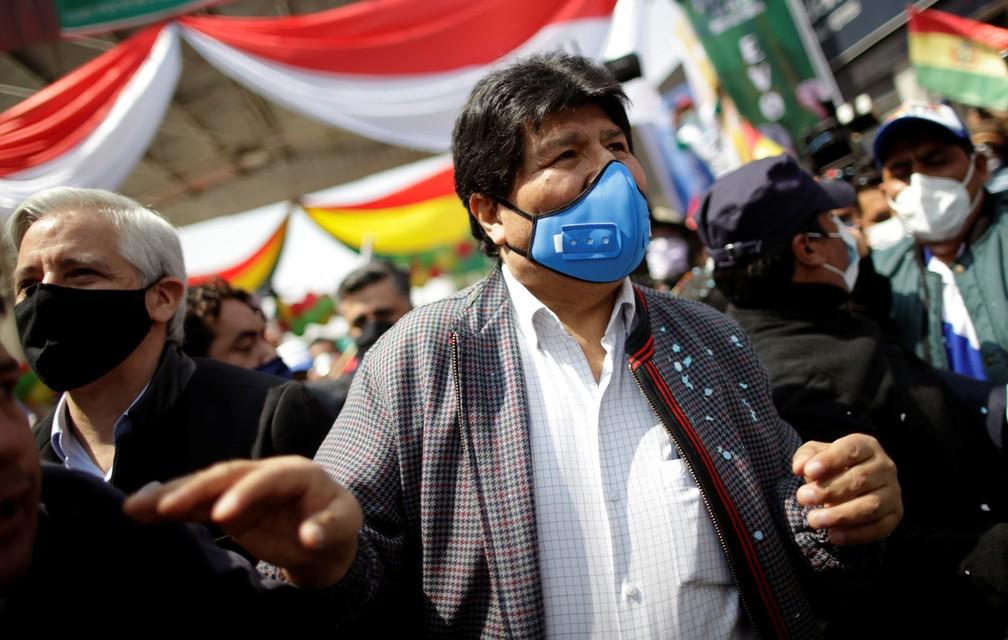 Imagem de Evo Morales ao voltar à Bolívia, em 9 de novembro de 2020 — Foto: Ueslei Marcelino/Reuters