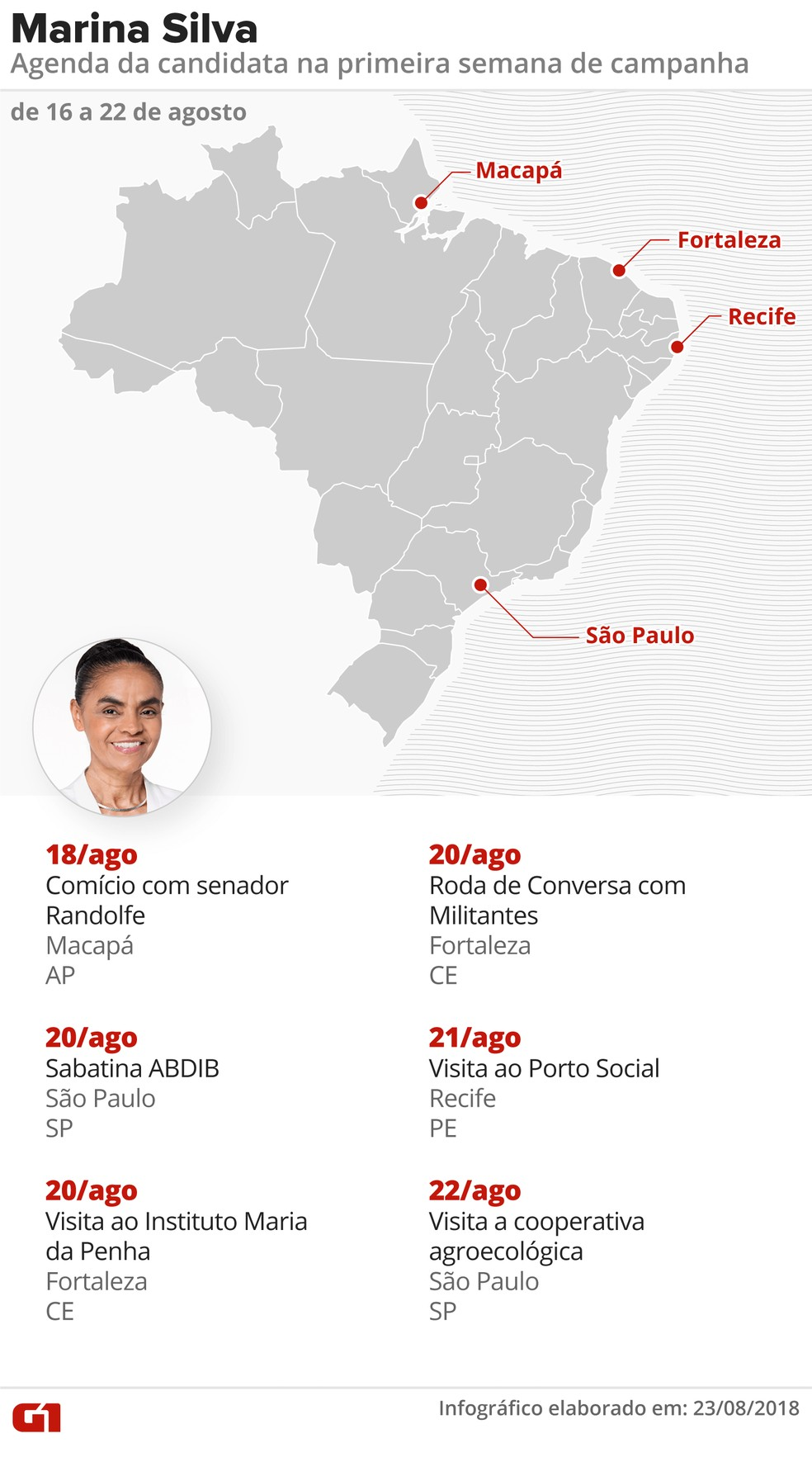Agenda de Marina Silva (Rede) na primeira semana da campanha presidencial (Foto: Alexandre Mauro, Roberta Jaworski, Igor Estrella e Juliane Souza)