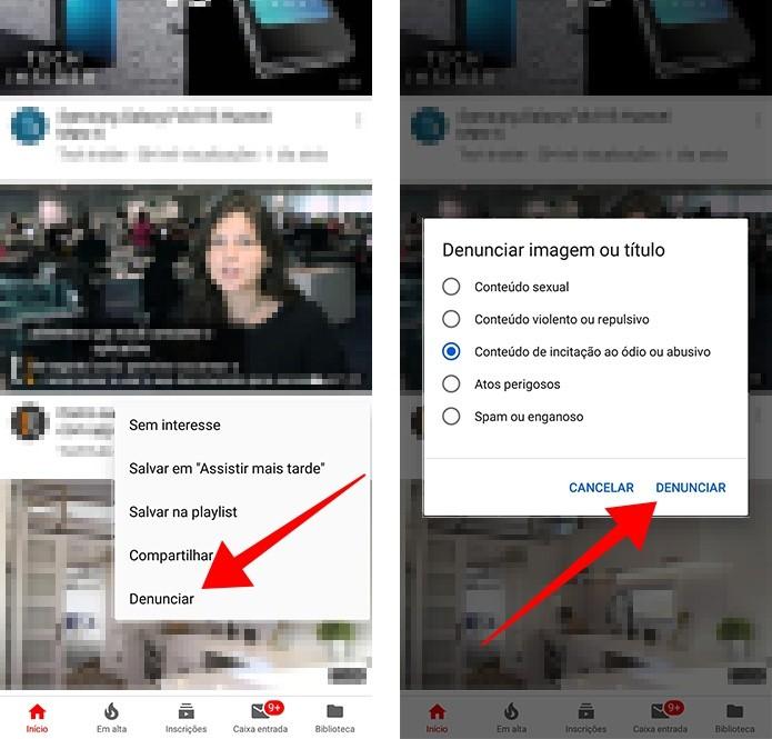 Denuncie um vídeo no feed do YouTube (Foto: Reprodução/Paulo Alves)