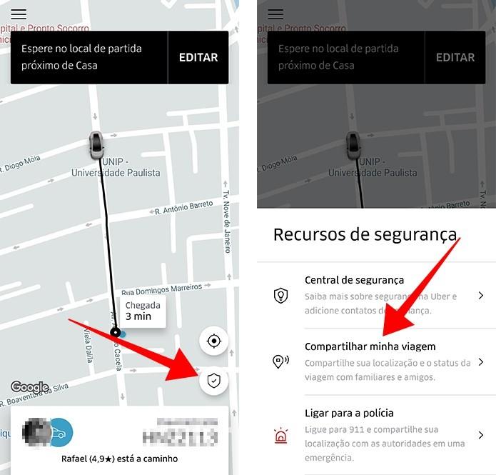 Acesse a ferramenta de compartilhamento de trajeto no Uber (Foto: Reprodução/Paulo Alves)