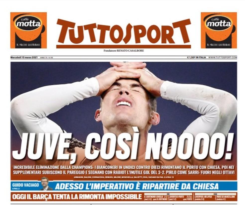 """Tuttosport: """"Juve, assim não!"""" — Foto: Reprodução/Tuttosport"""